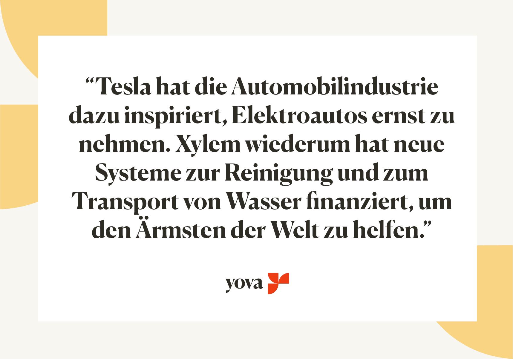 Zitat über Tesla und Xylem, wie sie ihre Industrie zu neuen Innovationen inspiriert haben