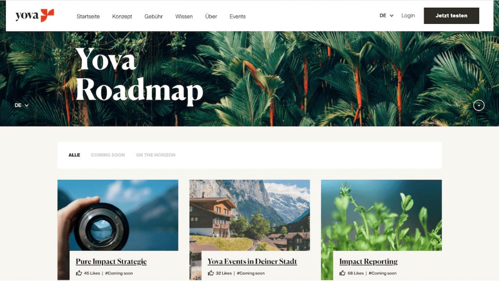 Yova impact investing Erfahrungen Roadmap