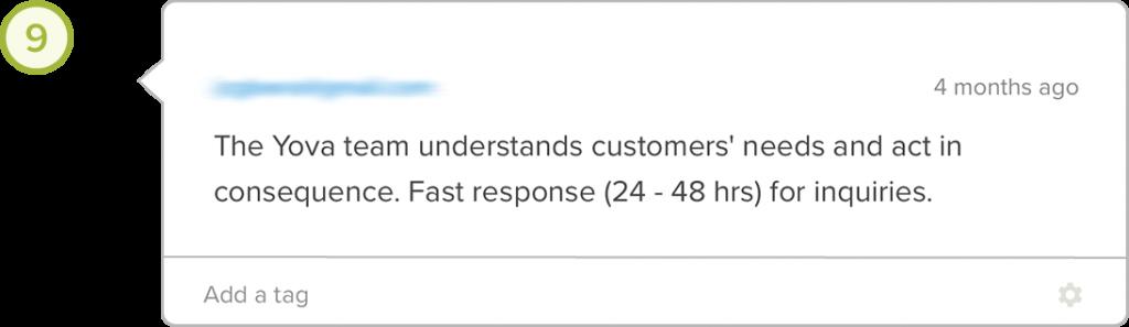 Yova review customer support