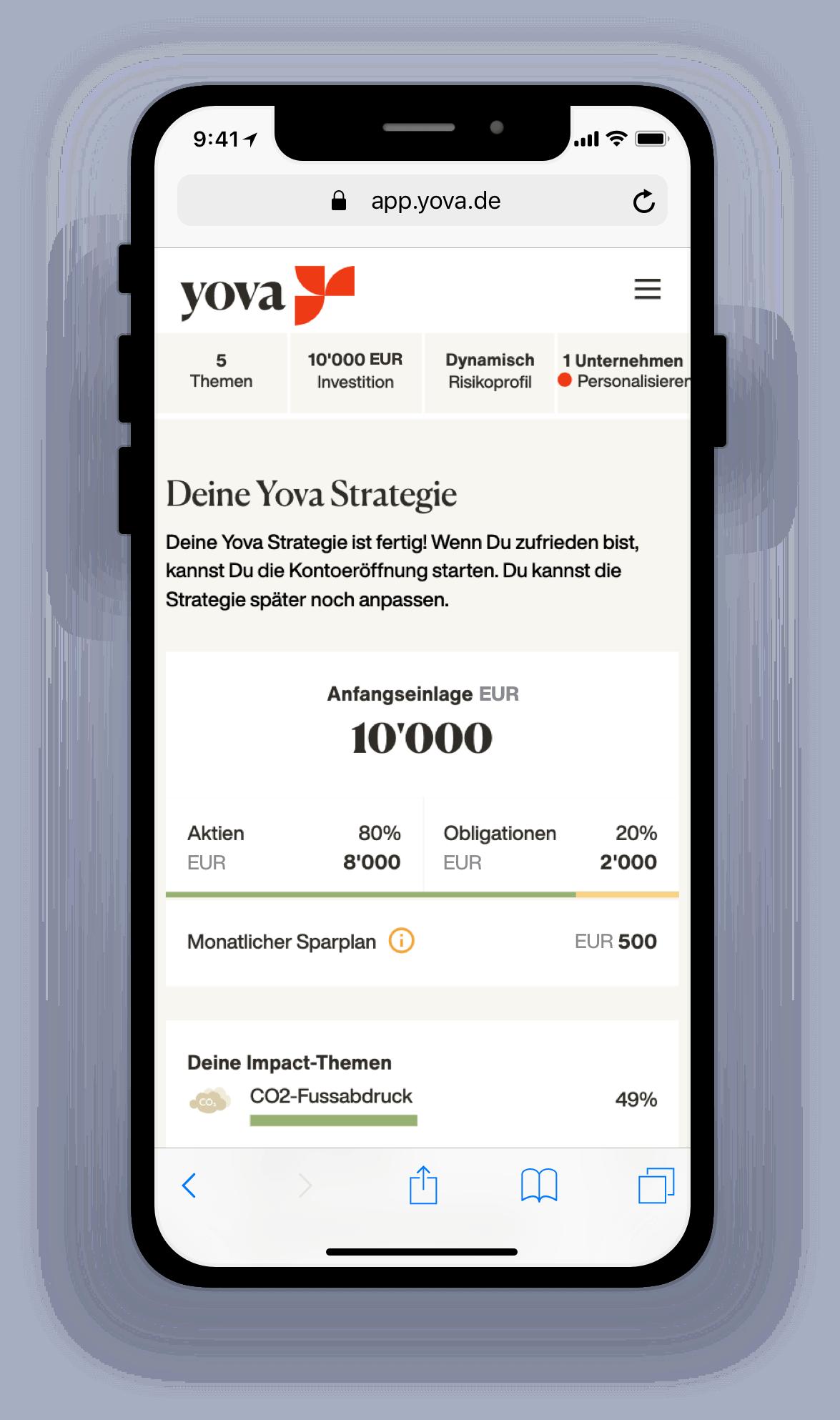 Screenshot zeigt eine Yova Impact Investing Strategie