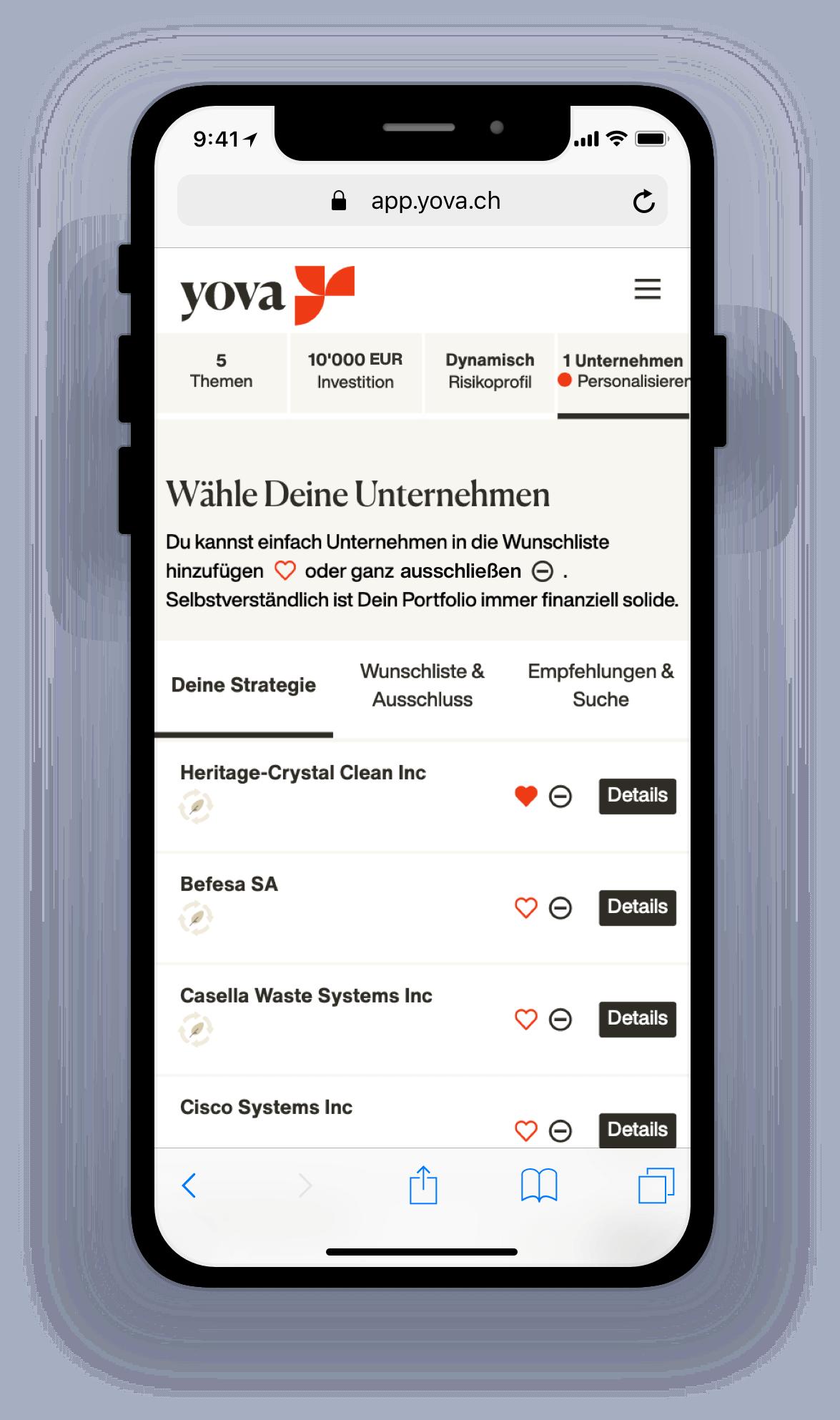 Screenshot zeigt, wie Du Deine Unternehmen auswählen kannst
