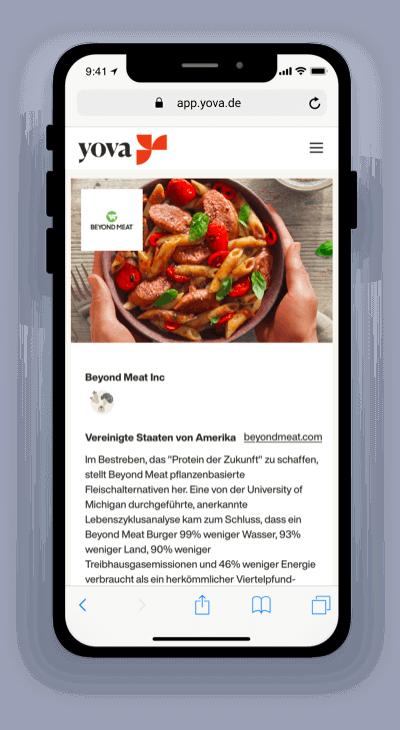 Screenshot, der die Firma Beyond Meat in der Yova-App zeigt