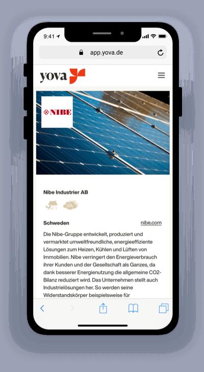 Screenshot, der die Firma Nibe auf der Yova-App zeigt