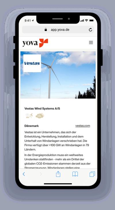 Screenshot, der die Firma Vestas in der Yova-App zeigt