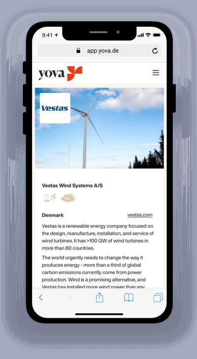 Screenshot showing the company Vestas on the Yova app