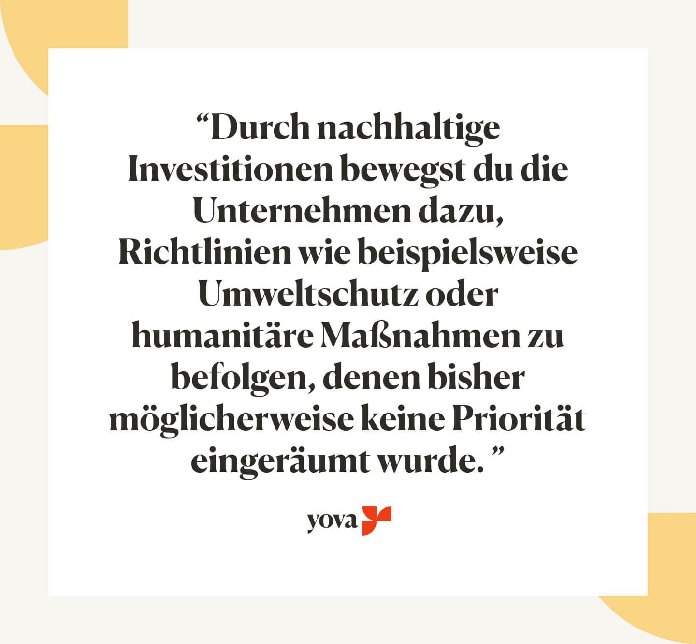 nachhaltig investieren geld nachhaltig anlegen Yova Deutschland