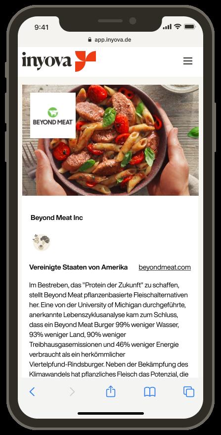 Screenshot, der die Firma Beyond Meat in der Inyova-App zeigtScreenshot, der die Firma Beyond Meat in der Inyova-App zeigt