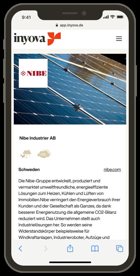 Screenshot, der die Firma Nibe auf der Inyova-App zeigt