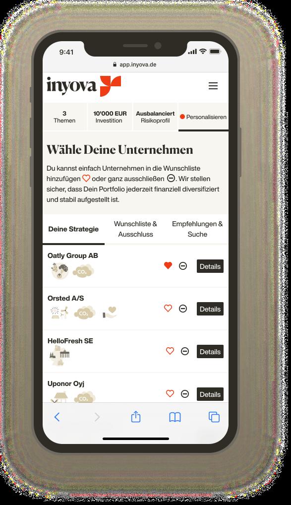 Screenshot, der zeigt, wie Du Deine Unternehmen mit Inyova auswählst