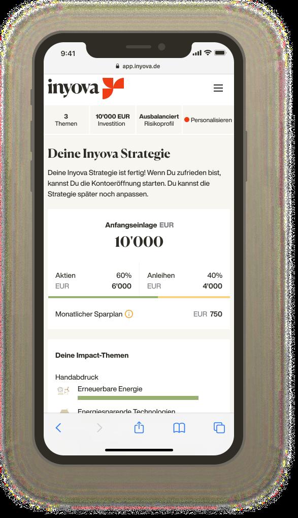 Screenshot zeigt eine Inyova Impact Investing Strategie