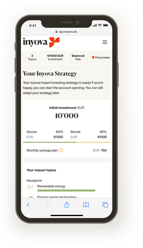 Screenshot showing an Inyova impact investing strategy