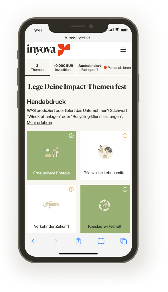 Screenshot zeigt, wie Du Impact-Themen für Deine Inyova-Strategie festlegst.