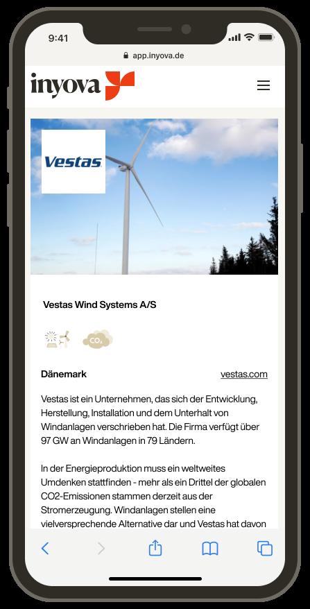 Screenshot, der die Firma Vestas in der Inyova-App zeigt